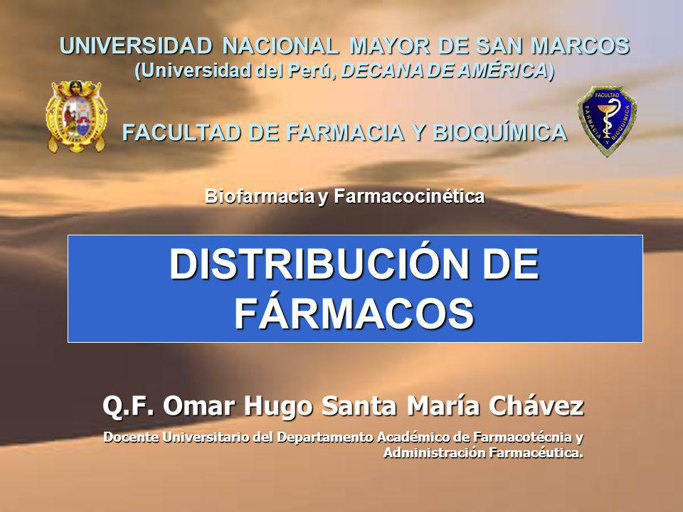 DISTRIBUCIÓN DE FÁRMACOS UNIVERSIDAD NACIONAL MAYOR DE SAN MARCOS (Universidad del Perú, DECANA DE AMÉRICA) FACULTAD DE FARMACIA Y BIOQUÍMICA Q.F.