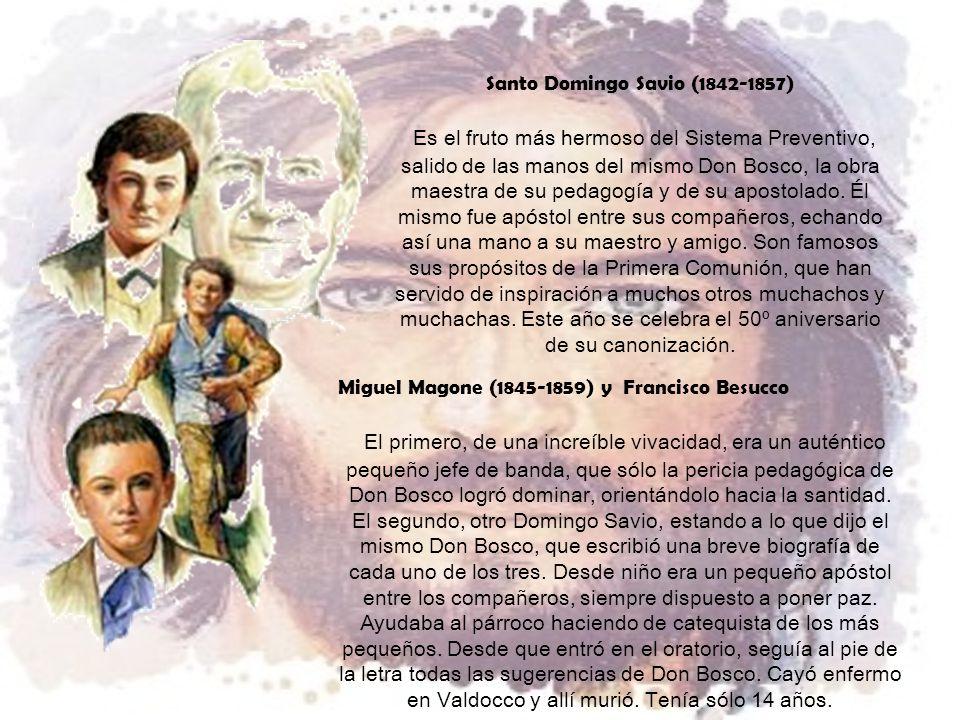 Santo Domingo Savio (1842-1857) Es el fruto más hermoso del Sistema Preventivo, salido de las manos del mismo Don Bosco, la obra maestra de su pedagogía y de su apostolado.