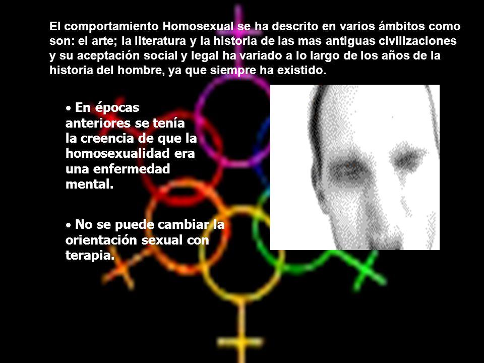 En épocas anteriores se tenía la creencia de que la homosexualidad era una enfermedad mental. No se puede cambiar la orientación sexual con terapia. E