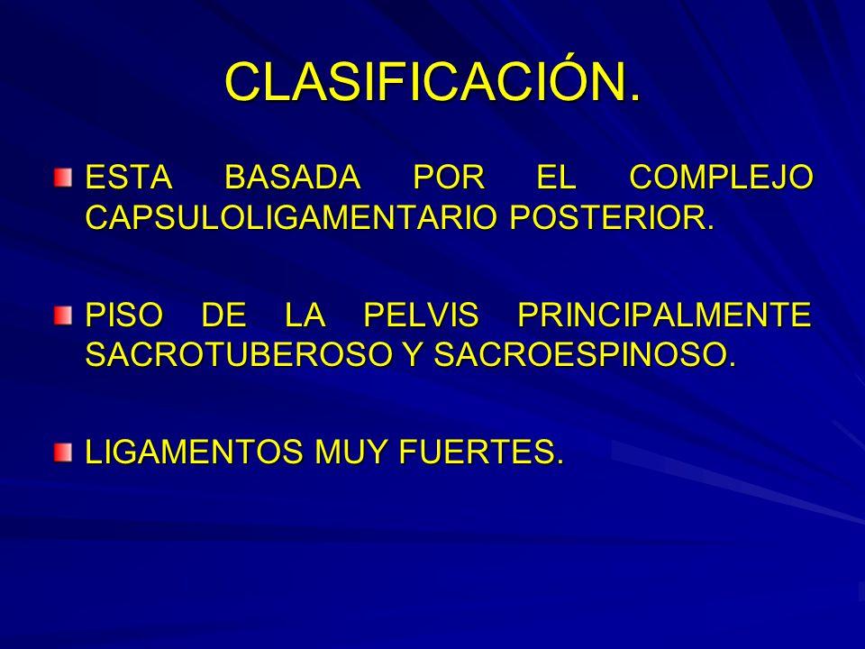 CLASIFICACIÓN.ESTA BASADA POR EL COMPLEJO CAPSULOLIGAMENTARIO POSTERIOR.