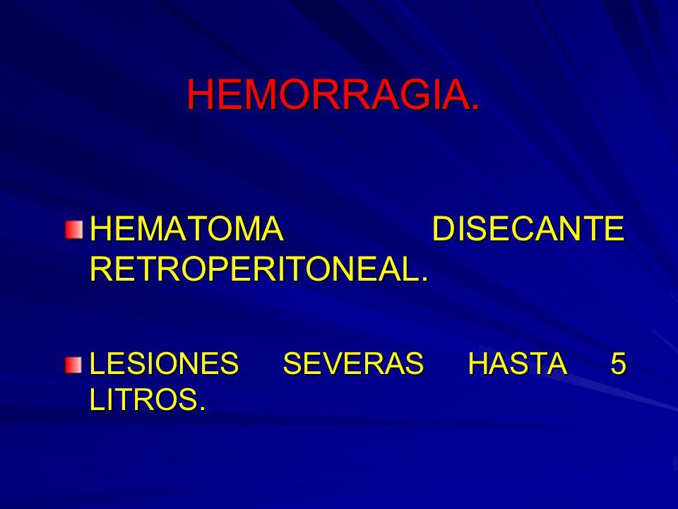 HEMORRAGIA. HEMATOMA DISECANTE RETROPERITONEAL. LESIONES SEVERAS HASTA 5 LITROS.