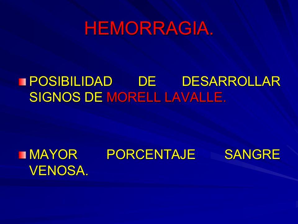 HEMORRAGIA. POSIBILIDAD DE DESARROLLAR SIGNOS DE MORELL LAVALLE. MAYOR PORCENTAJE SANGRE VENOSA.