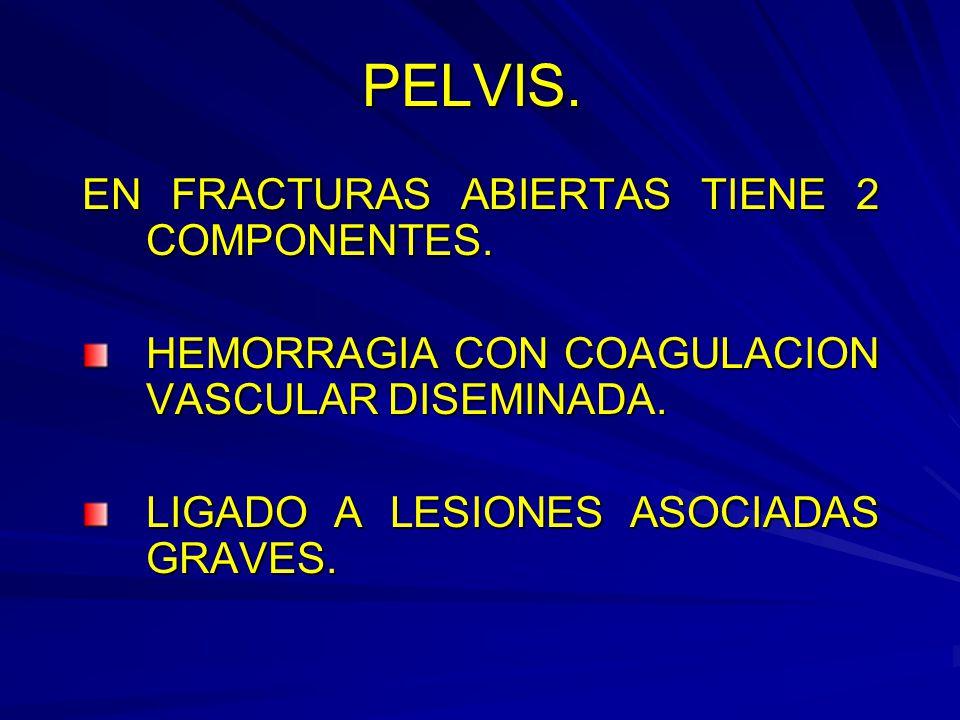 PELVIS.EN FRACTURAS ABIERTAS TIENE 2 COMPONENTES.
