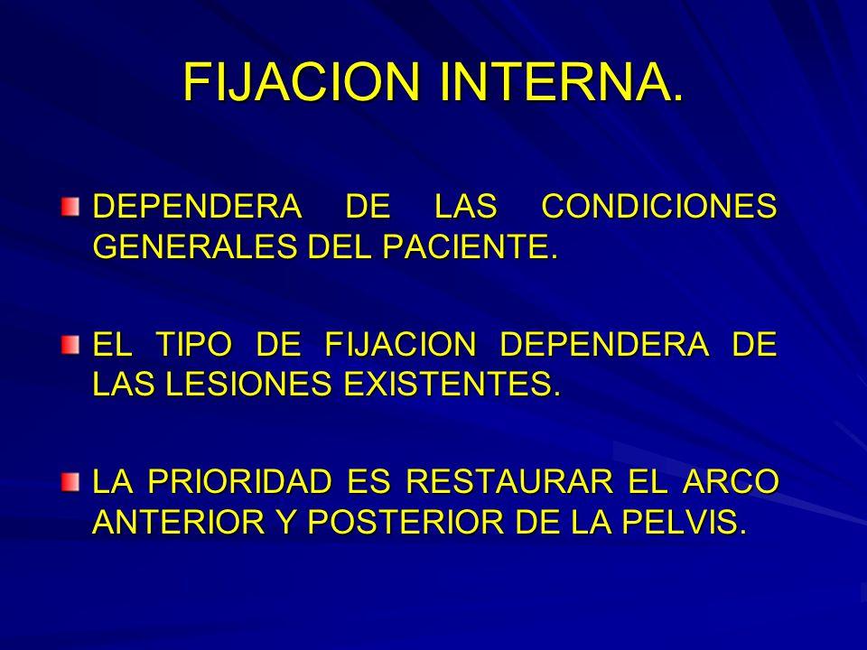 FIJACION INTERNA.DEPENDERA DE LAS CONDICIONES GENERALES DEL PACIENTE.