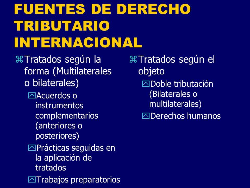 FUENTES DE DERECHO TRIBUTARIO INTERNACIONAL zDerecho consuetudinario internacional yPráctica constante entre Estados yReconocida como legalmente vinculante zJurisprudencia internacional