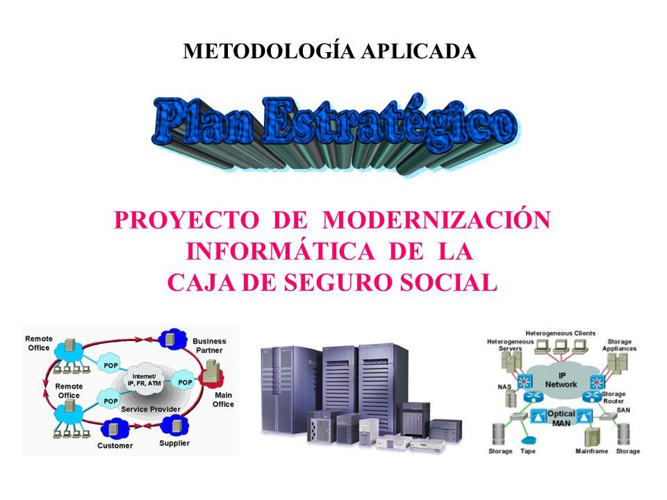 2 El proyecto de modernización para el período 2001-2004 pretende garantizan la infraestructura informática requerida que asegure las labores de control administrativo y operativo de la Caja de Seguro Social con especial énfasis en el suministro de bienes y servicios.