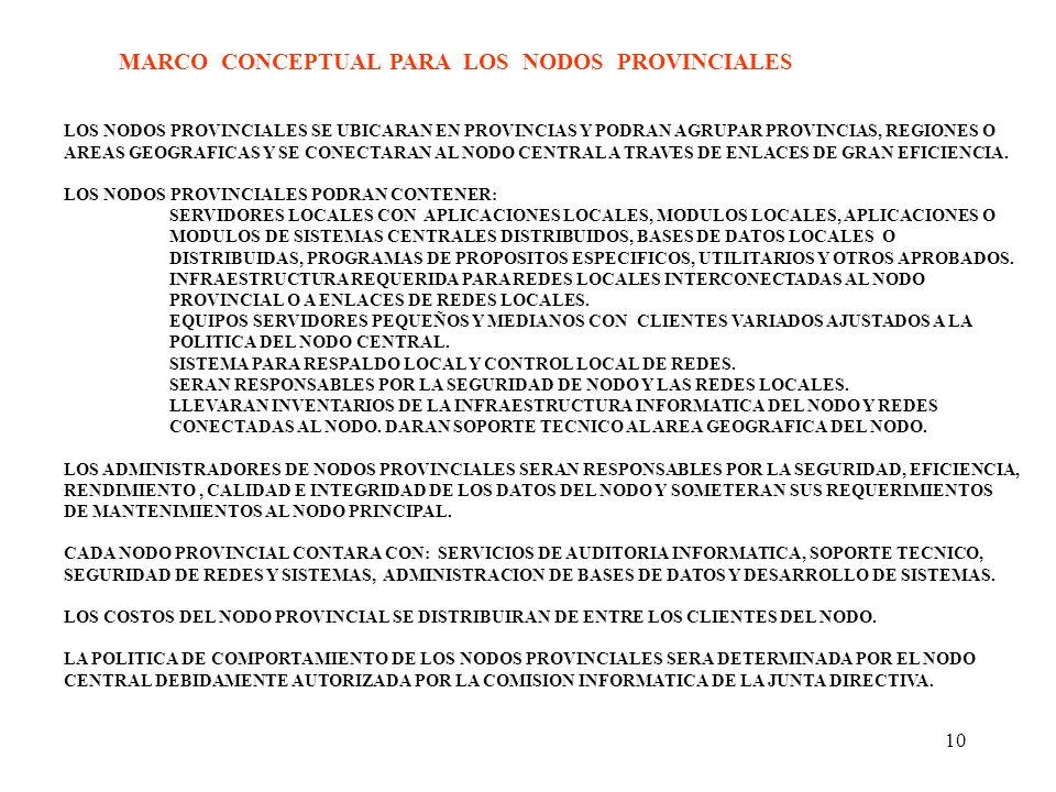 10 MARCO CONCEPTUAL PARA LOS NODOS PROVINCIALES LOS NODOS PROVINCIALES SE UBICARAN EN PROVINCIAS Y PODRAN AGRUPAR PROVINCIAS, REGIONES O AREAS GEOGRAF