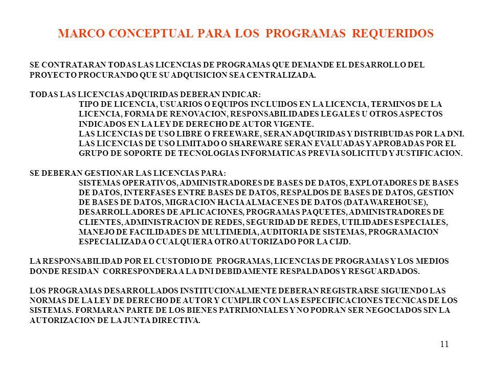 11 MARCO CONCEPTUAL PARA LOS PROGRAMAS REQUERIDOS SE CONTRATARAN TODAS LAS LICENCIAS DE PROGRAMAS QUE DEMANDE EL DESARROLLO DEL PROYECTO PROCURANDO QUE SU ADQUISICION SEA CENTRALIZADA.