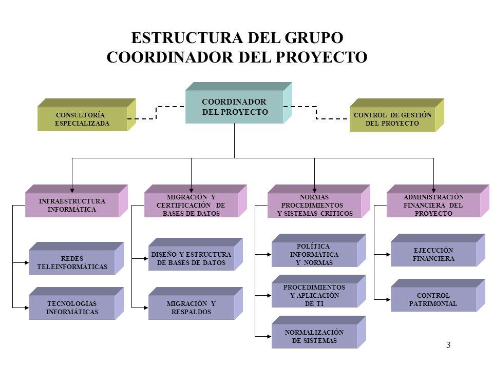 3 COORDINADOR DEL PROYECTO CONTROL DE GESTIÓN DEL PROYECTO NORMAS PROCEDIMIENTOS Y SISTEMAS CRÍTICOS INFRAESTRUCTURA INFORMÁTICA NORMALIZACIÓN DE SIST