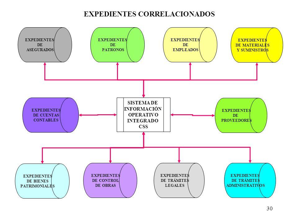 30 EXPEDIENTES DE ASEGURADOS EXPEDIENTES DE PATRONOS EXPEDIENTES DE TRÁMITES ADMINISTRATIVOS EXPEDIENTES DE BIENES PATRIMONIALES EXPEDIENTES DE MATERI