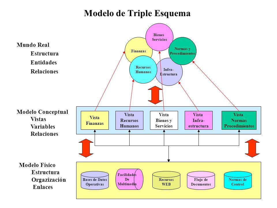 6 Modelo de Triple Esquema Mundo Real Estructura Entidades Relaciones Finanzas Infra- Estructura Bienes Servicios Normas y Procedimientos Vista Recurs