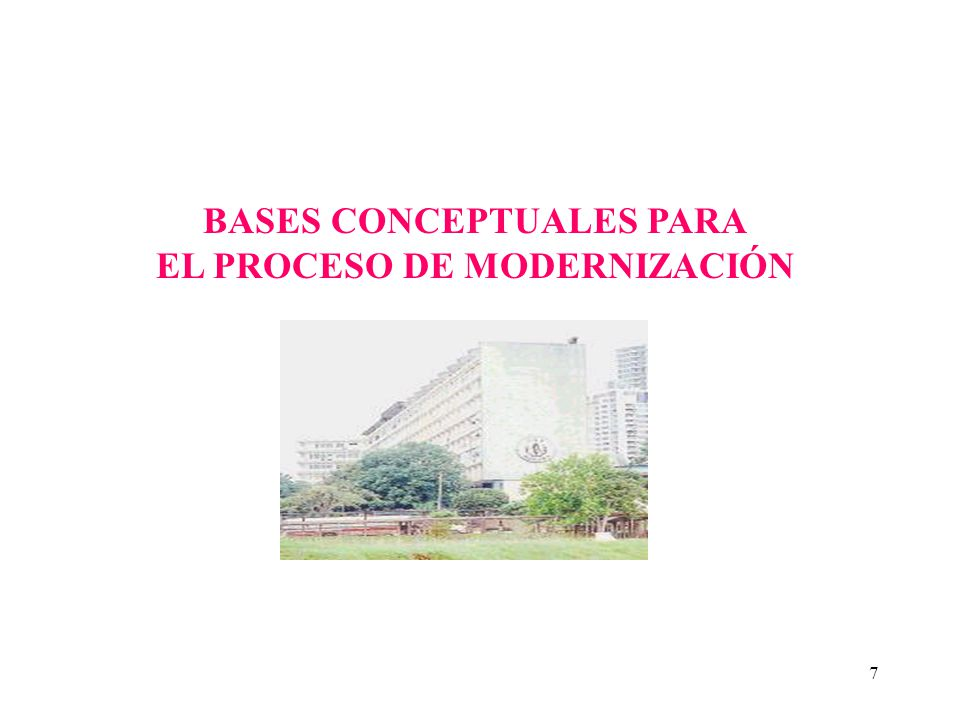 7 BASES CONCEPTUALES PARA EL PROCESO DE MODERNIZACIÓN