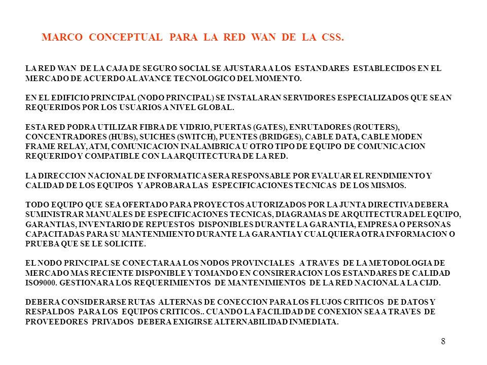 8 MARCO CONCEPTUAL PARA LA RED WAN DE LA CSS. LA RED WAN DE LA CAJA DE SEGURO SOCIAL SE AJUSTARA A LOS ESTANDARES ESTABLECIDOS EN EL MERCADO DE ACUERD