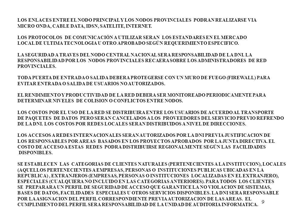 9 LOS ENLACES ENTRE EL NODO PRINCIPAL Y LOS NODOS PROVINCIALES PODRAN REALIZARSE VIA MICRO ONDA, CABLE DATA, IDSN, SATELITE, INTERNET. LOS PROTOCOLOS