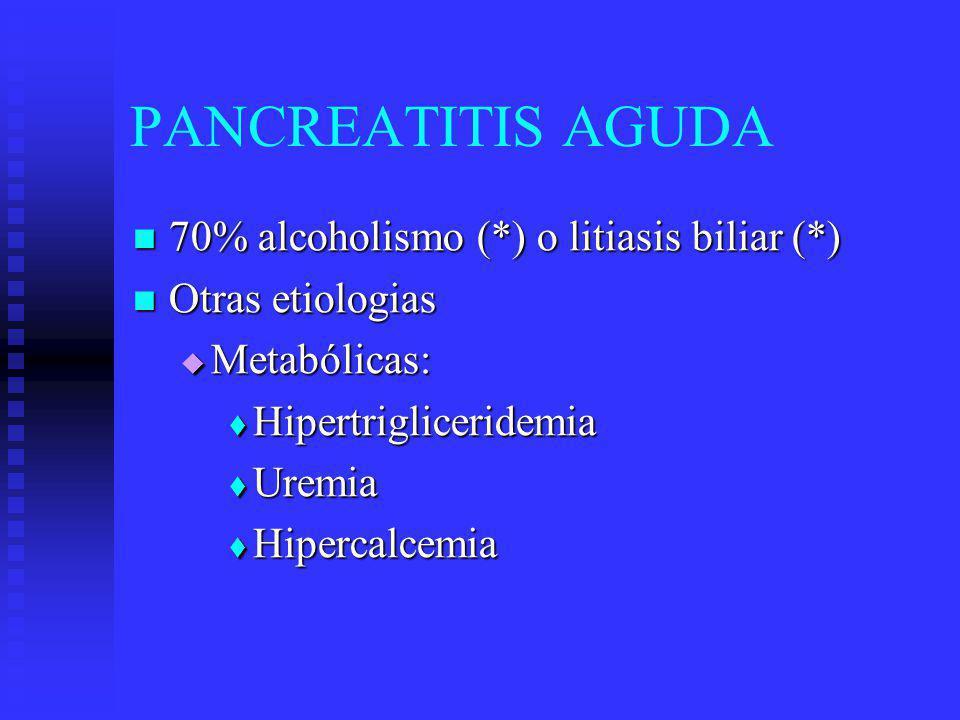 PANCREATITIS AGUDA Medicamentos: * Corticoesteroides * Tiazidas * L-asparaginasa * Estrógenos * Pentamidina