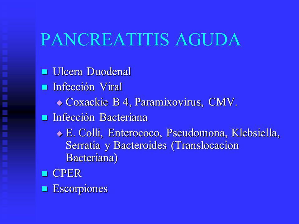 PANCREATITIS AGUDA CUADRO CLINICO CUADRO CLINICO Dolor epigástrico (90-95%) Fijo-Espalda Dolor epigástrico (90-95%) Fijo-Espalda 30-60 min.