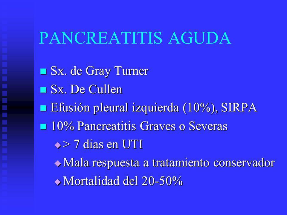 PANCREATITIS AGUDA Sx. de Gray Turner Sx. de Gray Turner Sx. De Cullen Sx. De Cullen Efusión pleural izquierda (10%), SIRPA Efusión pleural izquierda