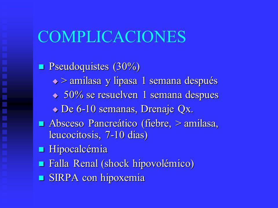 COMPLICACIONES Pancreatitis Hemorrágica Pancreatitis Hemorrágica Ascitis Pancreática (> amilasa en liquido peritoneal) Ascitis Pancreática (> amilasa en liquido peritoneal) Fuga y destrucción pancreática Fuga y destrucción pancreática