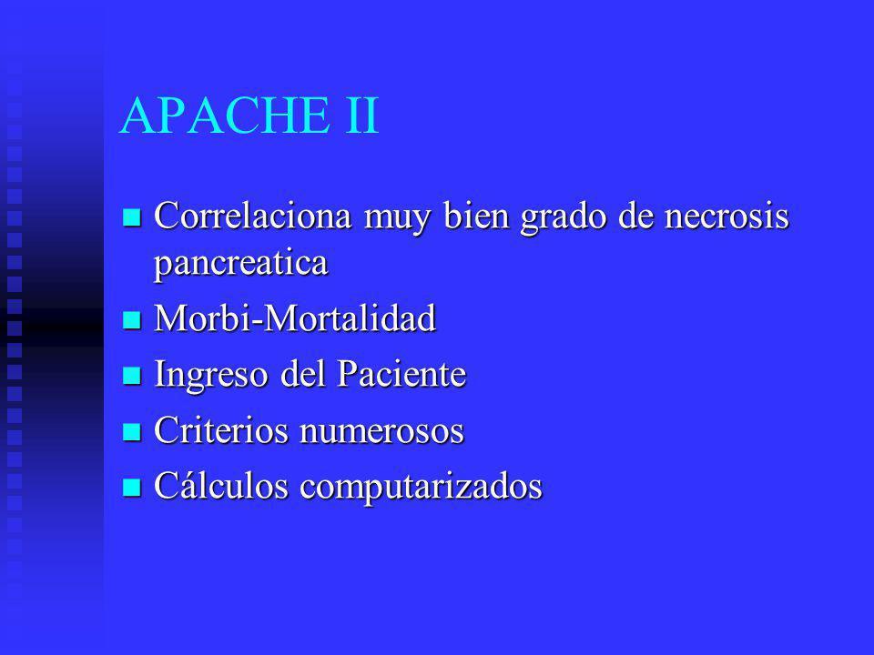 APACHE II Correlaciona muy bien grado de necrosis pancreatica Correlaciona muy bien grado de necrosis pancreatica Morbi-Mortalidad Morbi-Mortalidad In