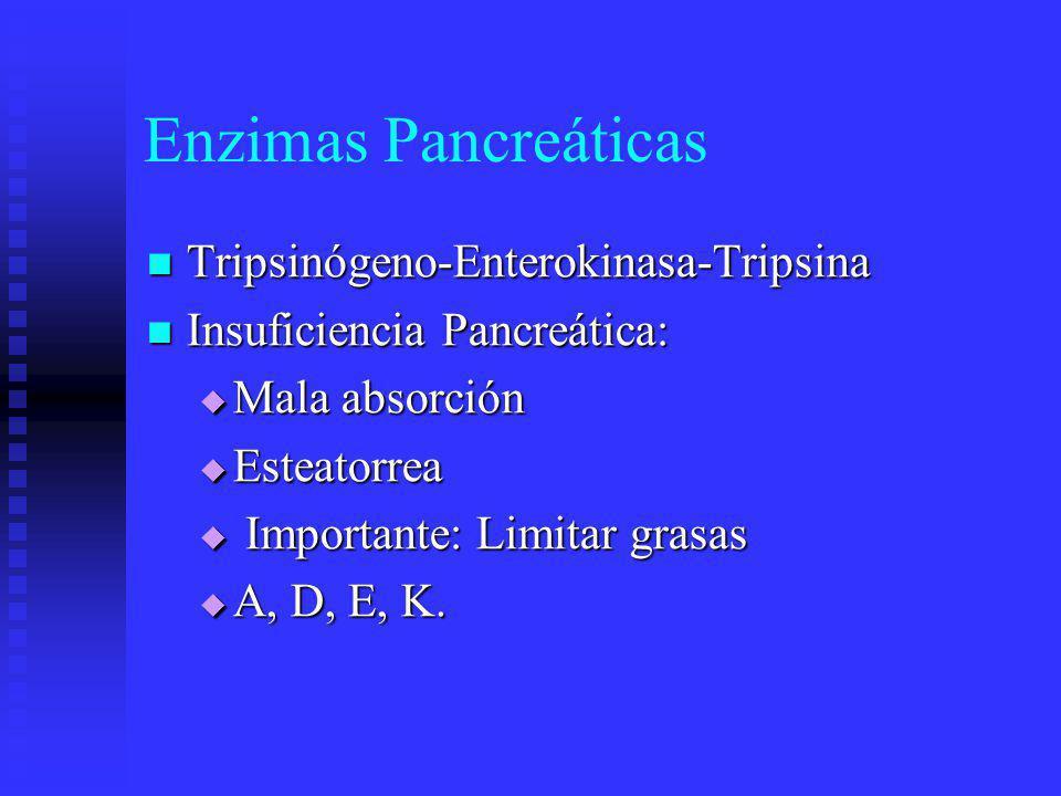 Estimulación de Funciones Pancreáticas Fases: Cefálica, Gástrica, Intestinal Fases: Cefálica, Gástrica, Intestinal Secretina: + HCO3 Secretina: + HCO3 CCK: 8-33 cadenas polipeptidicas CCK: 8-33 cadenas polipeptidicas ACh: Zimógenos (potencia CCK) ACh: Zimógenos (potencia CCK) Somatostatina: - gastrina, - secretina Somatostatina: - gastrina, - secretina