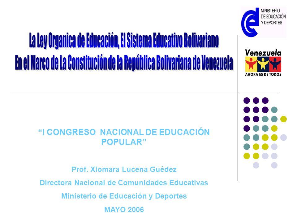 I CONGRESO NACIONAL DE EDUCACIÓN POPULAR Prof. Xiomara Lucena Guédez Directora Nacional de Comunidades Educativas Ministerio de Educación y Deportes M