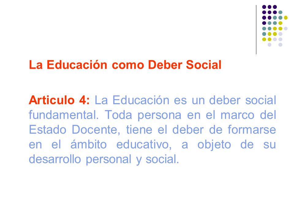 La Educación como Deber Social Articulo 4: La Educación es un deber social fundamental. Toda persona en el marco del Estado Docente, tiene el deber de