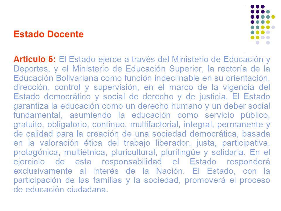 Estado Docente Articulo 5: El Estado ejerce a través del Ministerio de Educación y Deportes, y el Ministerio de Educación Superior, la rectoría de la
