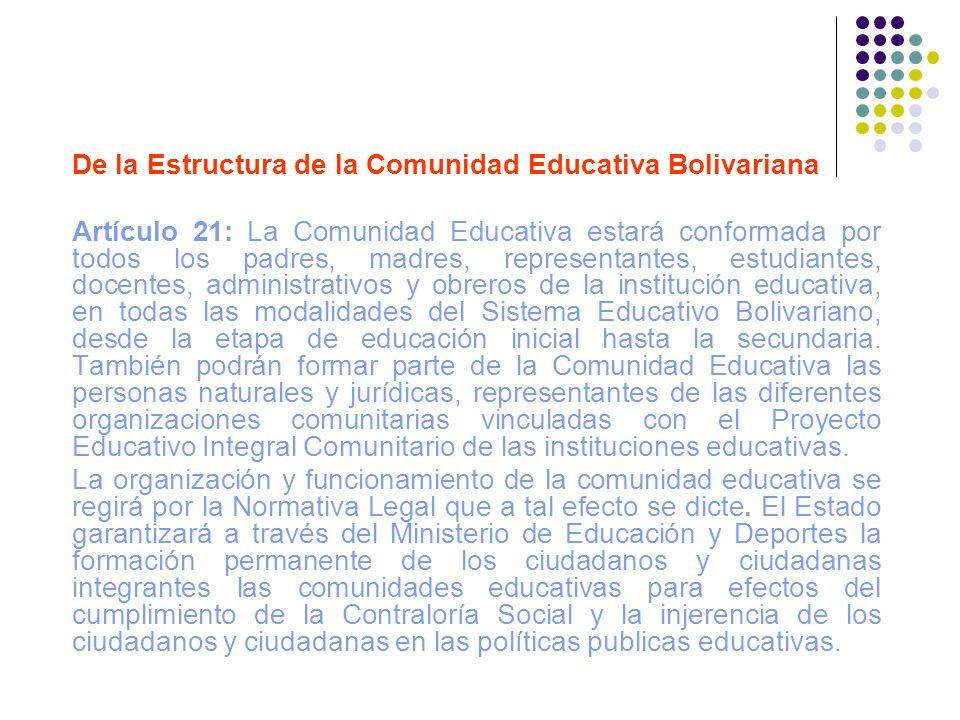 De la Estructura de la Comunidad Educativa Bolivariana Artículo 21: La Comunidad Educativa estará conformada por todos los padres, madres, representan