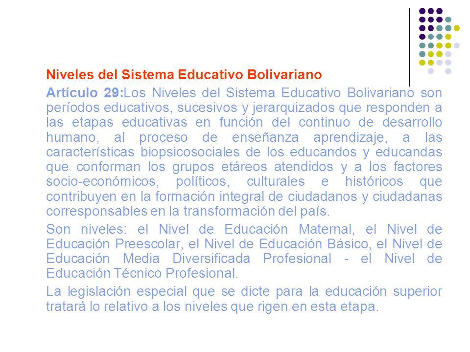 Niveles del Sistema Educativo Bolivariano Artículo 29:Los Niveles del Sistema Educativo Bolivariano son períodos educativos, sucesivos y jerarquizados