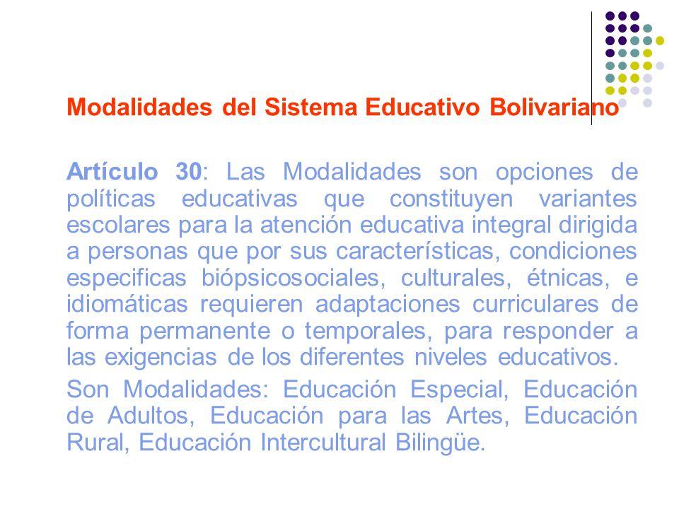 Modalidades del Sistema Educativo Bolivariano Artículo 30: Las Modalidades son opciones de políticas educativas que constituyen variantes escolares pa