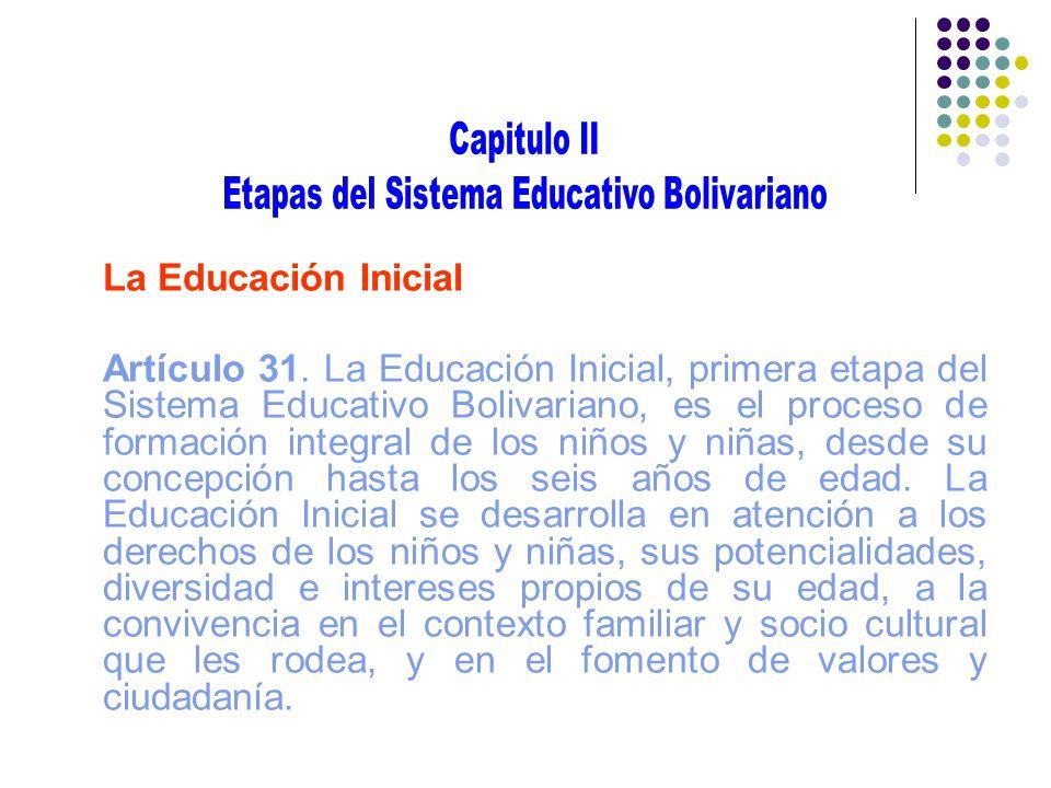 La Educación Inicial Artículo 31. La Educación Inicial, primera etapa del Sistema Educativo Bolivariano, es el proceso de formación integral de los ni