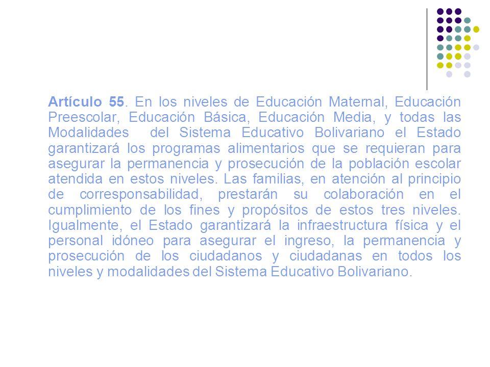Artículo 55. En los niveles de Educación Maternal, Educación Preescolar, Educación Básica, Educación Media, y todas las Modalidades del Sistema Educat