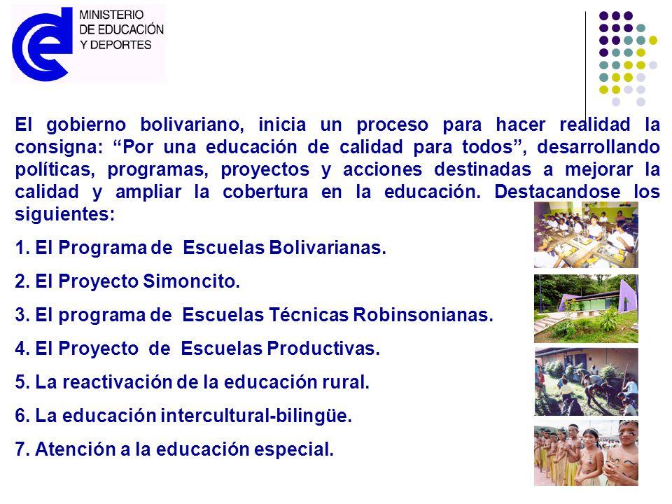 El gobierno bolivariano, inicia un proceso para hacer realidad la consigna: Por una educación de calidad para todos, desarrollando políticas, programa