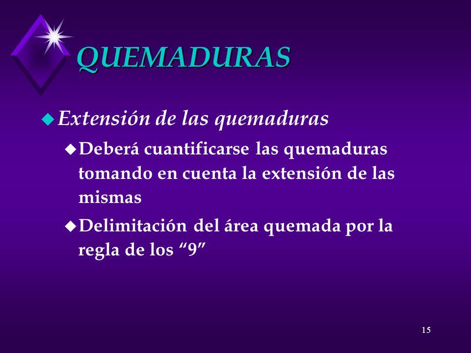 15 QUEMADURAS u Extensión de las quemaduras u Deberá cuantificarse las quemaduras tomando en cuenta la extensión de las mismas u Delimitación del área