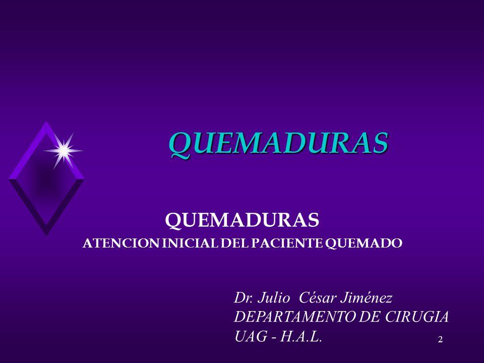 2 QUEMADURAS QUEMADURAS ATENCION INICIAL DEL PACIENTE QUEMADO Dr. Julio César Jiménez DEPARTAMENTO DE CIRUGIA UAG - H.A.L.