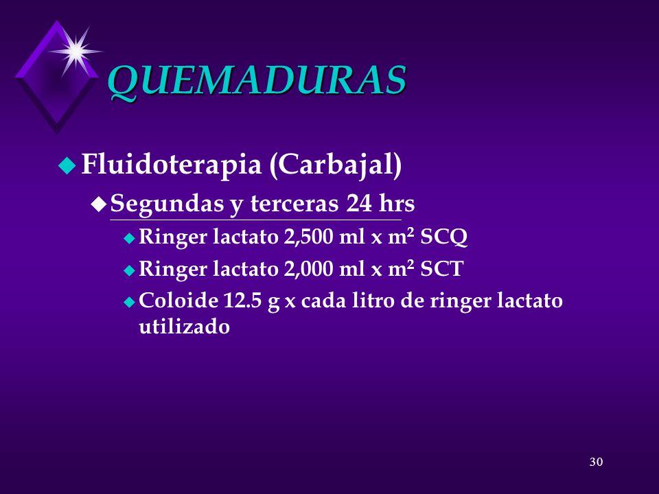 30 QUEMADURAS u Fluidoterapia (Carbajal) u Segundas y terceras 24 hrs u Ringer lactato 2,500 ml x m 2 SCQ u Ringer lactato 2,000 ml x m 2 SCT u Coloid