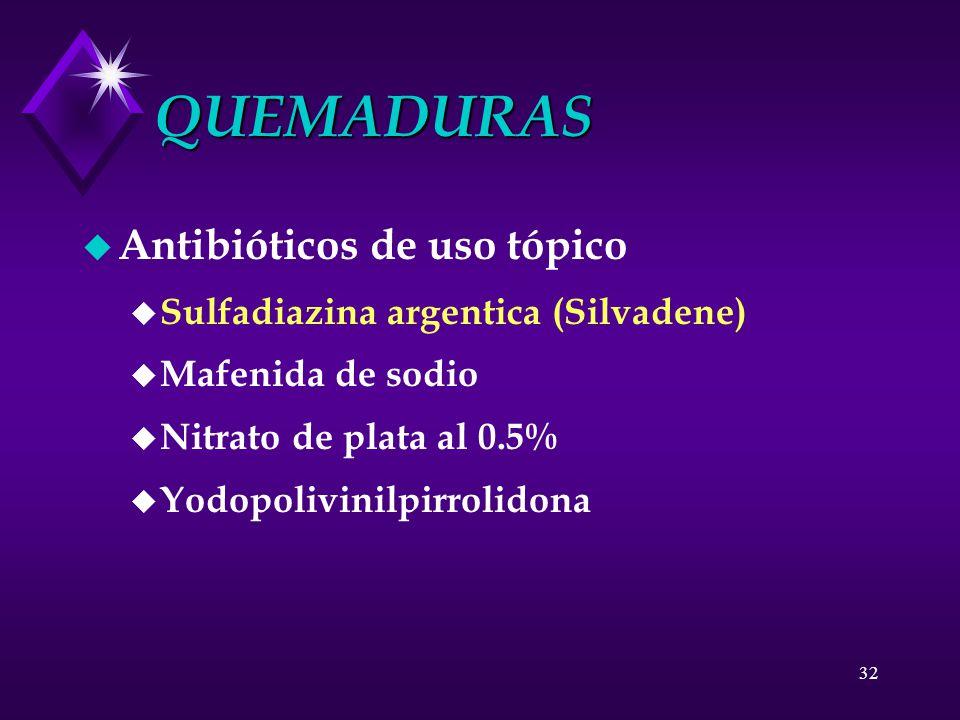 32 QUEMADURAS u Antibióticos de uso tópico u Sulfadiazina argentica (Silvadene) u Mafenida de sodio u Nitrato de plata al 0.5% u Yodopolivinilpirrolid