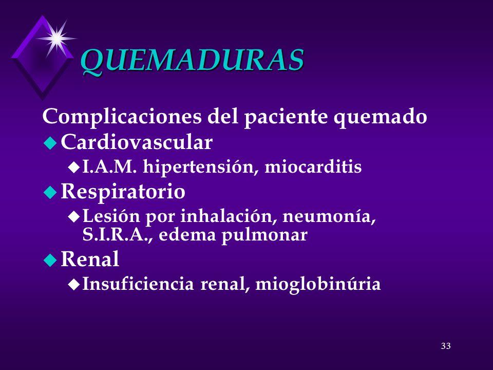 33 QUEMADURAS Complicaciones del paciente quemado u Cardiovascular u I.A.M. hipertensión, miocarditis u Respiratorio u Lesión por inhalación, neumonía