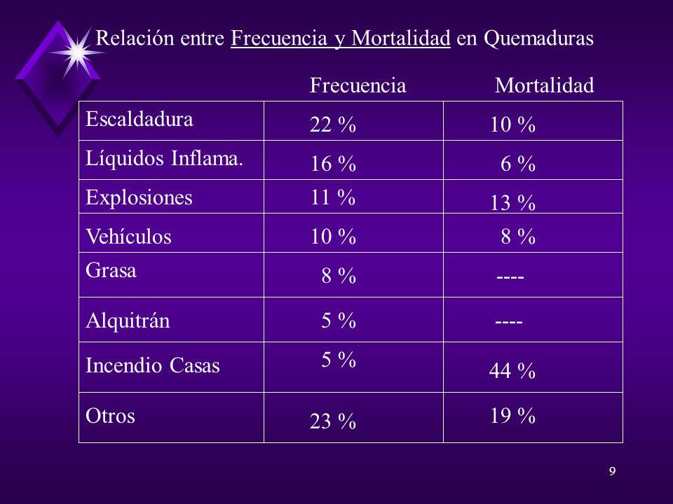 9 Escaldadura Líquidos Inflama. Explosiones Vehículos Grasa Alquitrán Otros Incendio Casas FrecuenciaMortalidad 22 %10 % 16 %6 % 11 % 13 % 10 %8 % 5 %