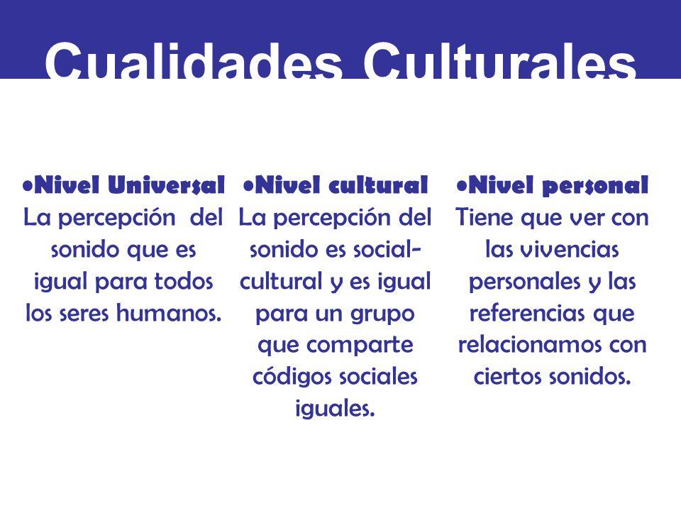 Cualidades Culturales Nivel Universal La percepción del sonido que es igual para todos los seres humanos.