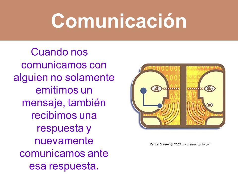 Cuando nos comunicamos con alguien no solamente emitimos un mensaje, también recibimos una respuesta y nuevamente comunicamos ante esa respuesta.