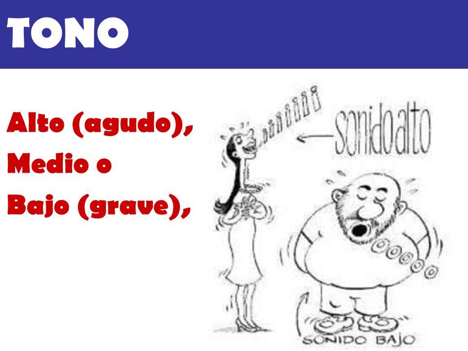 TONO Alto (agudo), Medio o Bajo (grave),