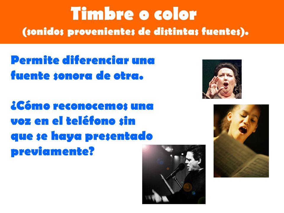 Timbre o color (sonidos provenientes de distintas fuentes).