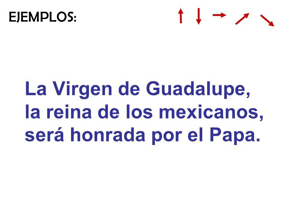 La Virgen de Guadalupe, la reina de los mexicanos, será honrada por el Papa. EJEMPLOS:
