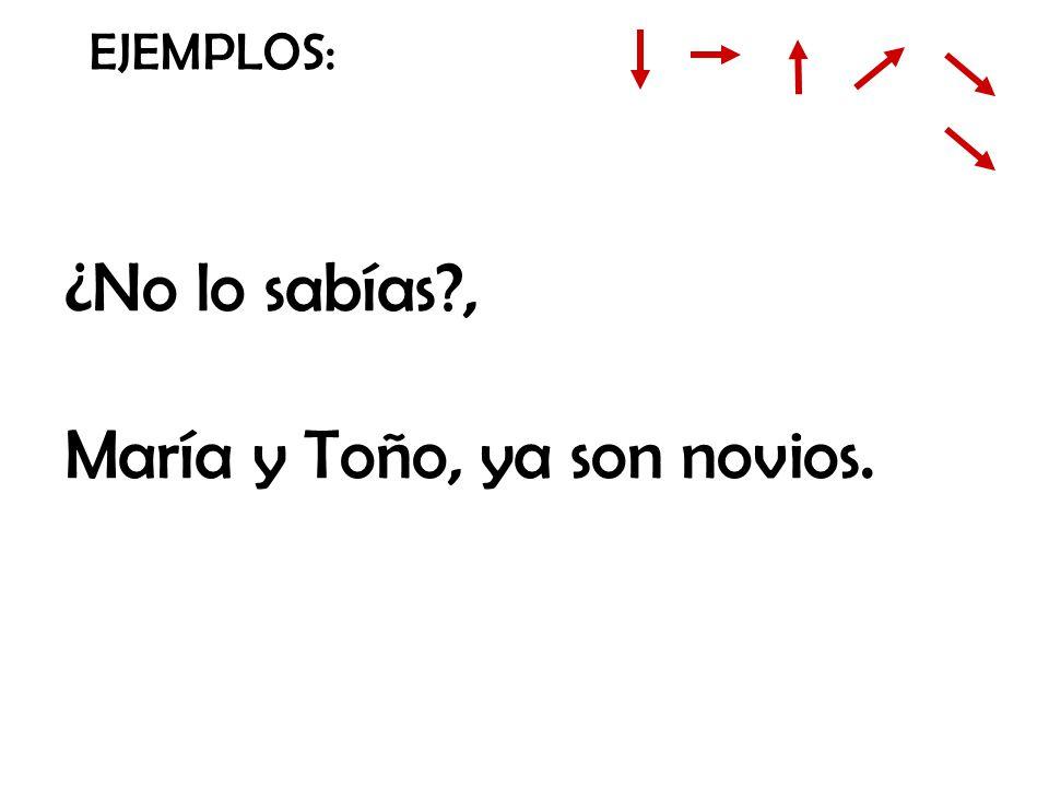 EJEMPLOS: ¿No lo sabías?, María y Toño, ya son novios.