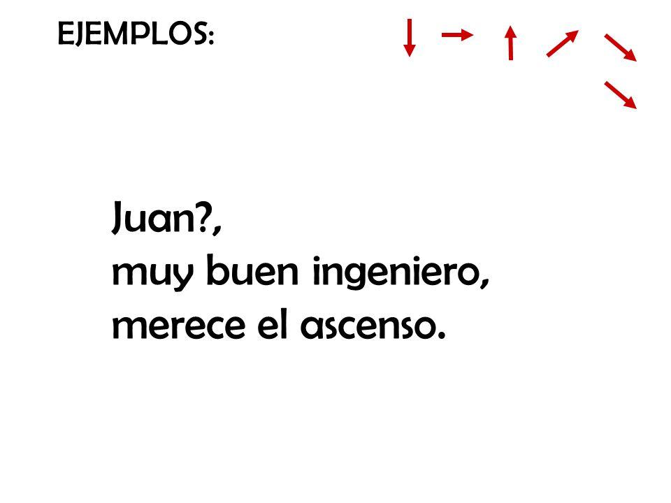EJEMPLOS: Juan?, muy buen ingeniero, merece el ascenso.