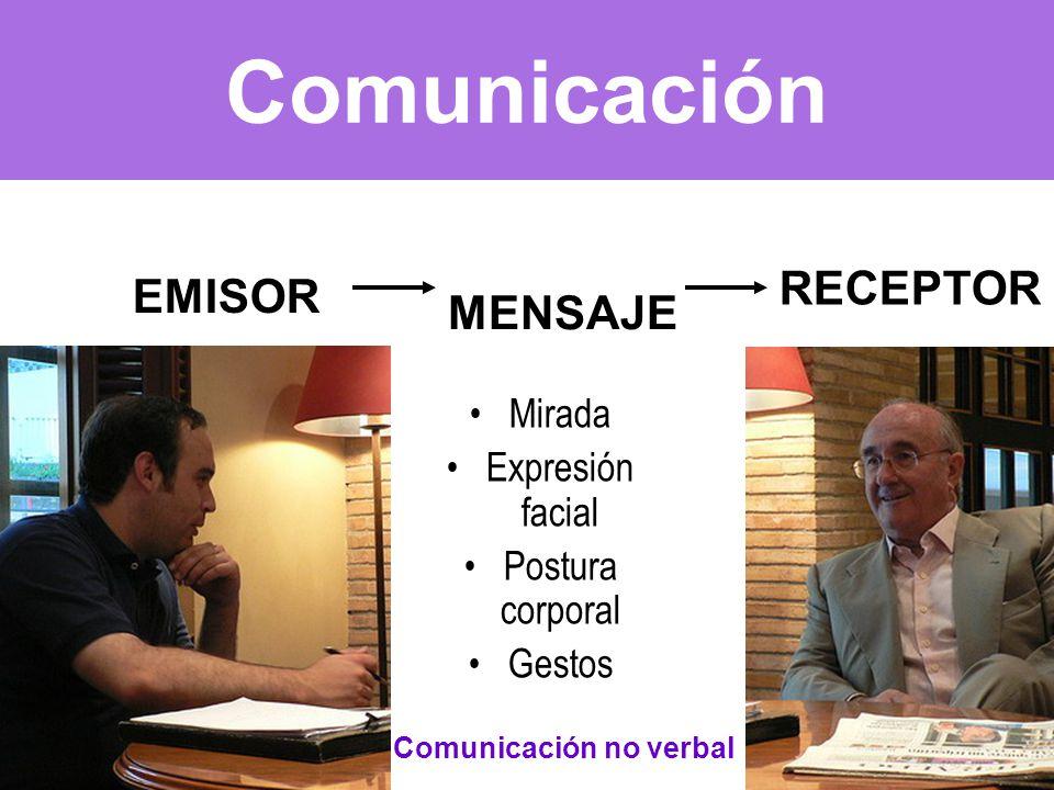 Comunicación EMISOR MENSAJE RECEPTOR Mirada Expresión facial Postura corporal Gestos Comunicación no verbal