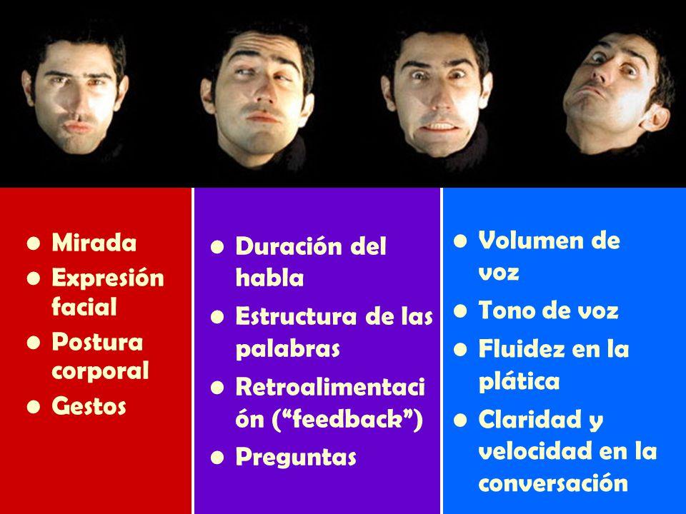 Mirada Expresión facial Postura corporal Gestos Duración del habla Estructura de las palabras Retroalimentaci ón (feedback) Preguntas Volumen de voz Tono de voz Fluidez en la plática Claridad y velocidad en la conversación