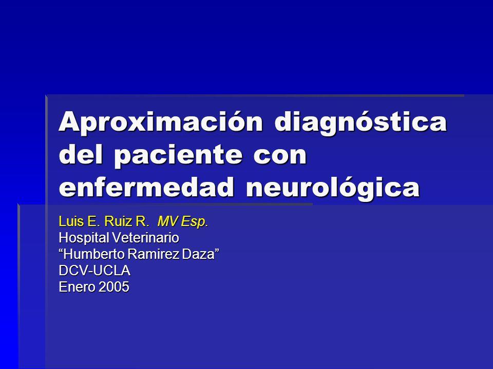 Escala de estimación de grado de afectación neurológica de la médula espinal (Bagley, 1999) GradoCondiciòn 8Normal 7 Dolor solamente 6 Paresia (camina) 5 Paresia (no camina) 4 Paraplejía (sensasión de dolor profundo y micción intactas) 3 Paraplejía (sensación de dolor profundo intacta e incontinencia urinaria 2 Paraplejía (sensación de dolor profundo ausente < 48 h) 1 Paraplejía (sensación de dolor profundo ausente > 48 h)