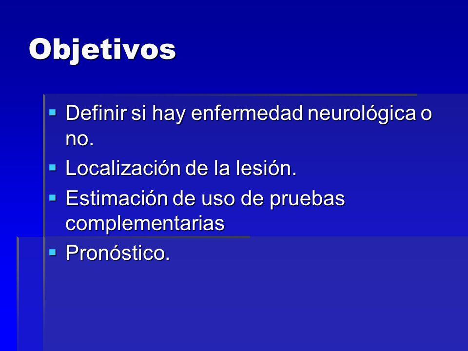 Objetivos Definir si hay enfermedad neurológica o no. Definir si hay enfermedad neurológica o no. Localización de la lesión. Localización de la lesión
